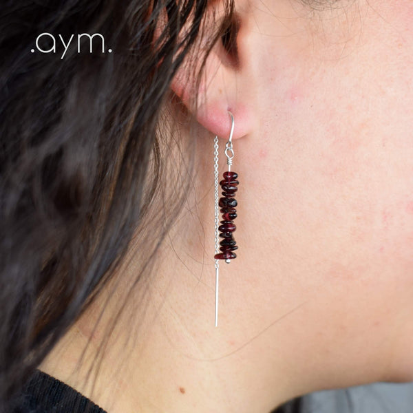Garnet Crystal Chain Threader Earrings - aymcollections