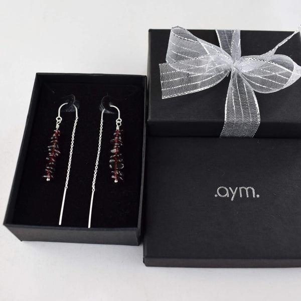 Garnet Crystal Chain Threader Earrings in Gift Box - aymcollections