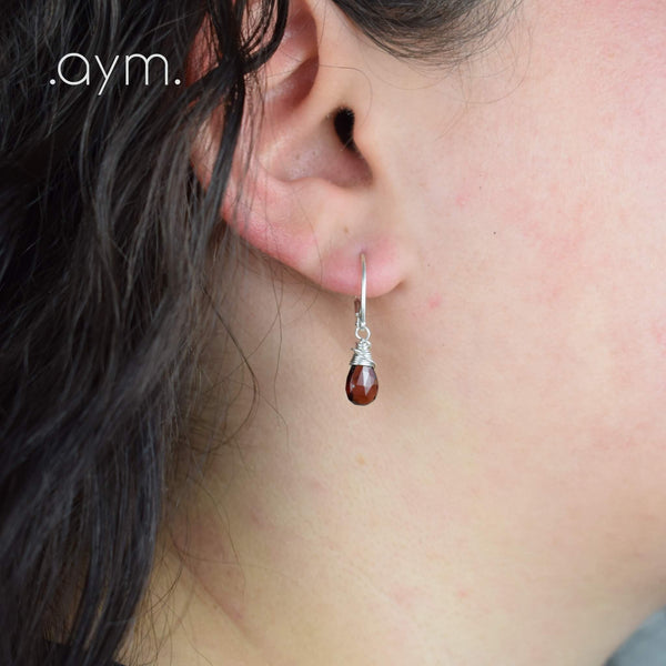 Garnet Leverback Earrings - aymcollections