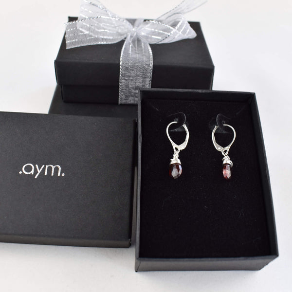 Garnet Leverback Earrings in Gift Box - aymcollections