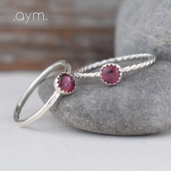 Garnet Sterling Silver Ring - aymcollections
