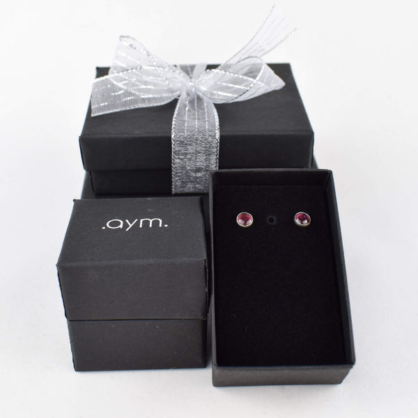 Garnet Stud Earrings in Gift Box - aymcollections
