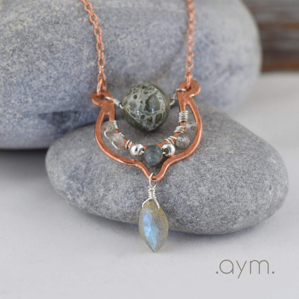 Green Jasper Copper Pendant Necklace with Labradorite - aymcollections
