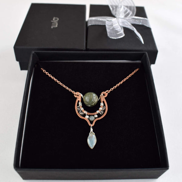 Green Jasper Copper Pendant Necklace with Labradorite in Gift Box - aymcollections