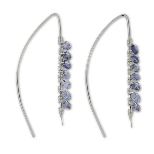 Iolite Wire Wrapped Threader Earrings - aymcollections