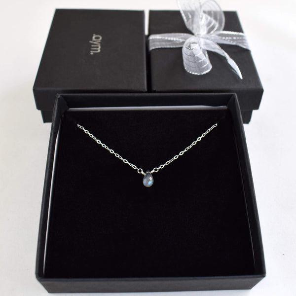 Labradorite Briolette Necklace in Gift Box - aymcollections