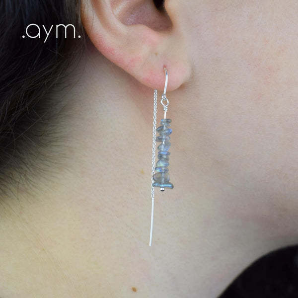 Labradorite Crystal Chain Threader Earrings - aymcollections