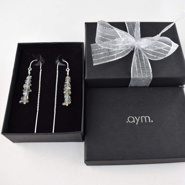 Labradorite Crystal Chain Threader Earrings in Gift Box - aymcollections