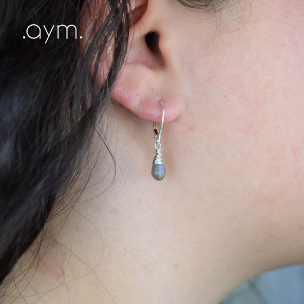Labradorite Leverback Earrings - aymcollections