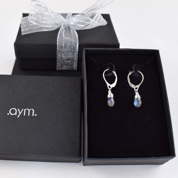 Labradorite Leverback Earrings in Gift Box - aymcollections