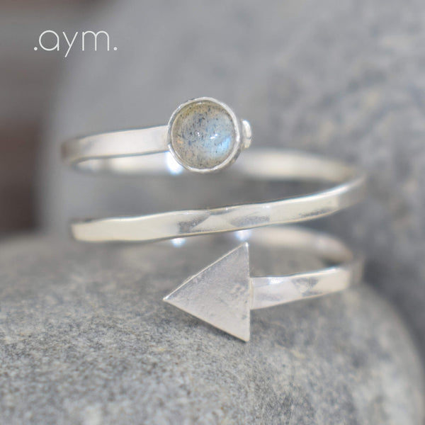 Labradorite Sterling Silver Arrow Spiral Ring - aymcollections