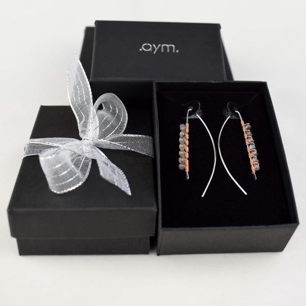 Labradorite Wire Wrapped Threader Earrings in Gift Box - aymcollections