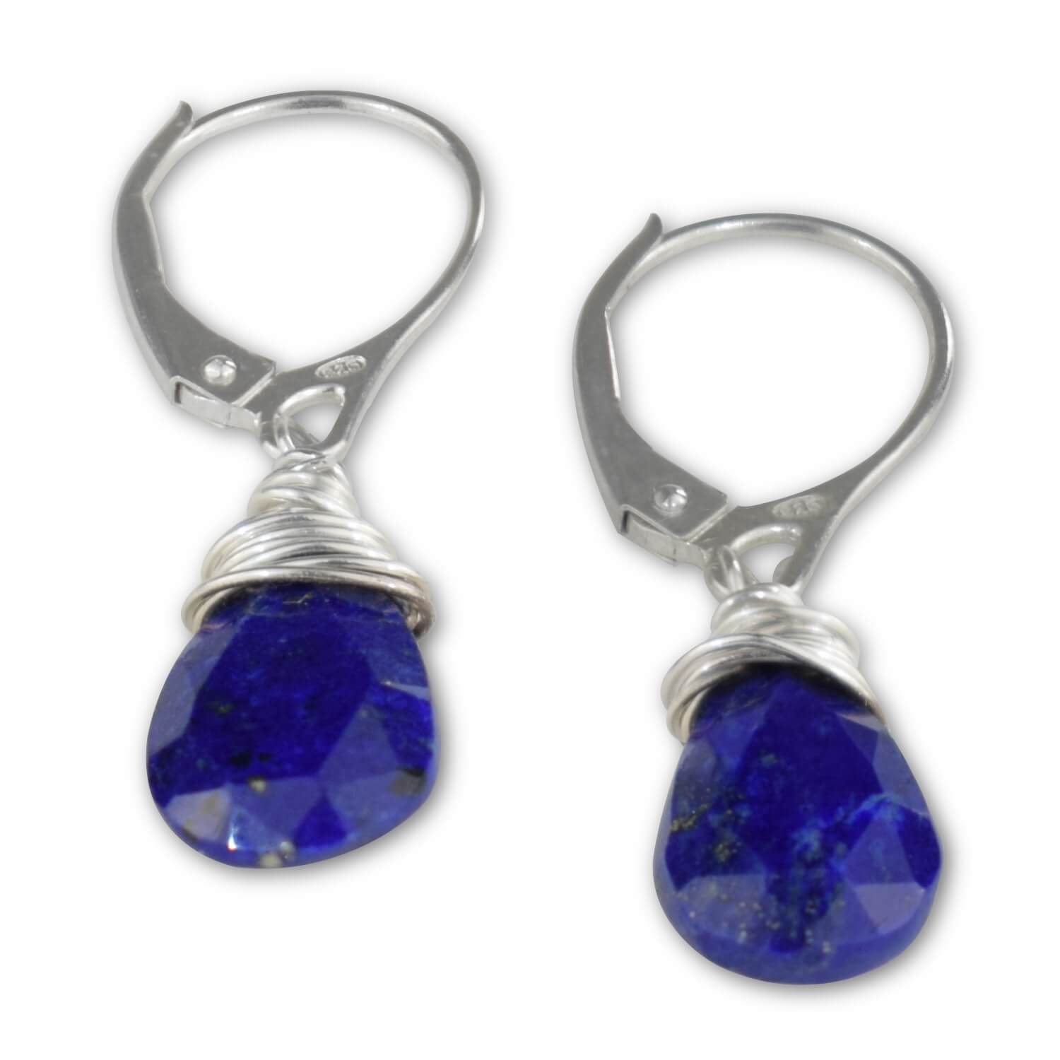Lapis Lazuli Leverback Earrings - aymcollections