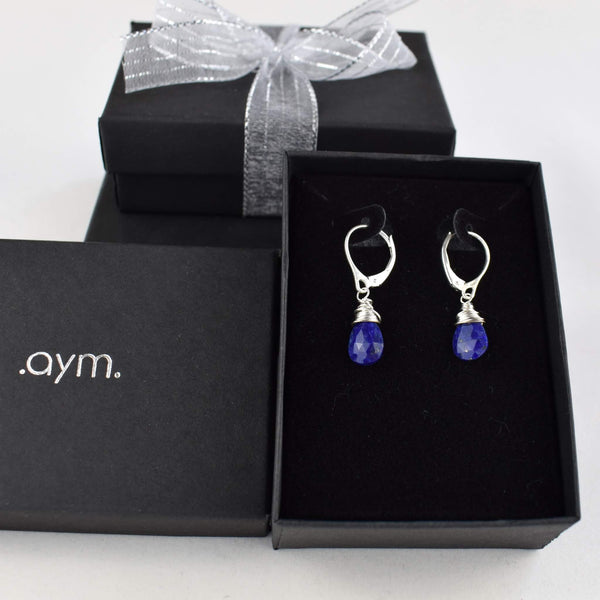 Lapis Lazuli Leverback Earrings in Gift Box - aymcollections