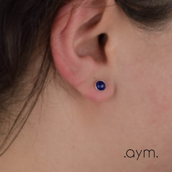 Lapis Lazuli Stud Earrings - aymcollections