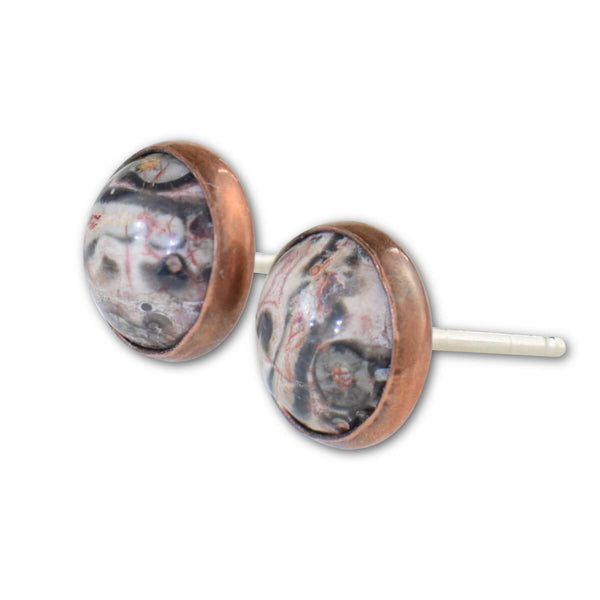 Leopardskin Jasper Stud Earrings - aymcollections