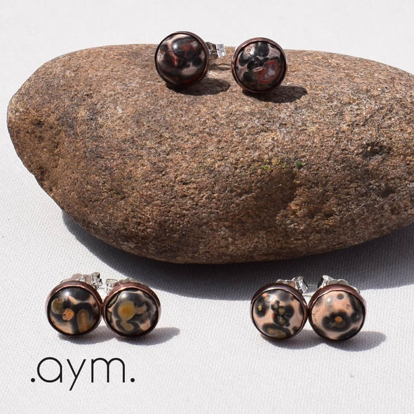Leopardskin Jasper Stud Earrings Color Variations - aymcollections