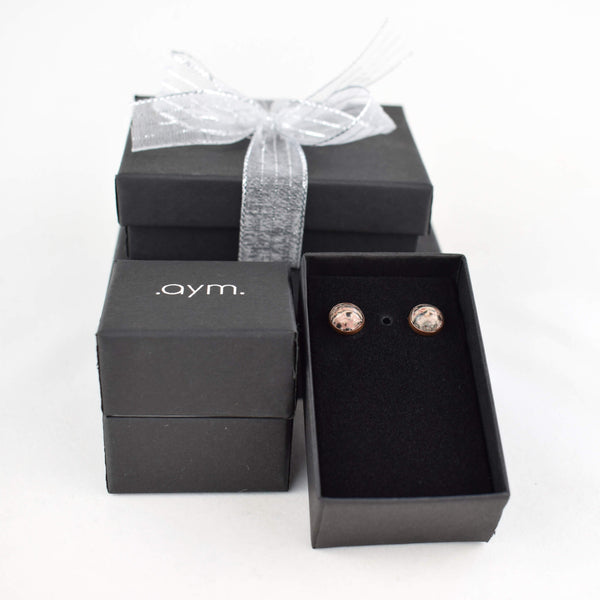 Leopardskin Jasper Stud Earrings in Gift Box - aymcollections
