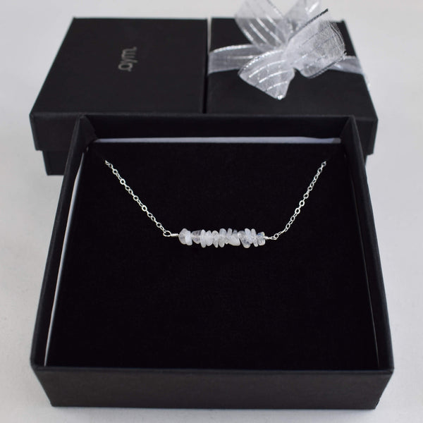 Moonstone Crystal Bar Necklace in Gift Box - aymcollections