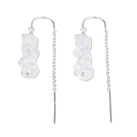 Moonstone Crystal Chain Threader Earrings - aymcollections