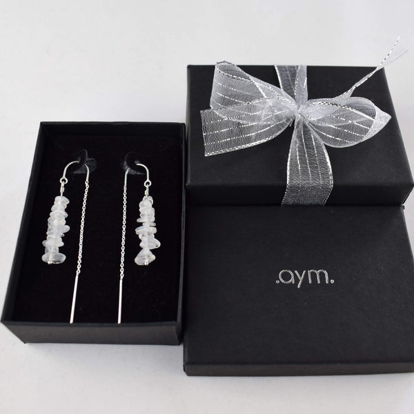 Moonstone Crystal Chain Threader Earrings in Gift Box - aymcollections