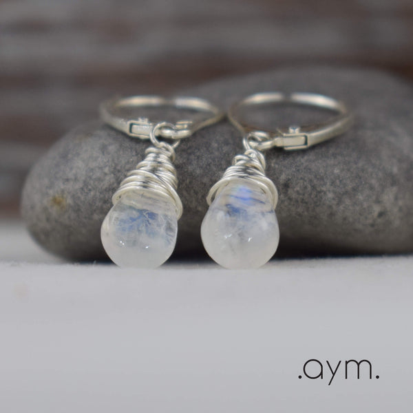 Moonstone Leverback Earrings - aymcollections