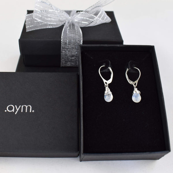 Moonstone Leverback Earrings in Gift Box - aymcollections