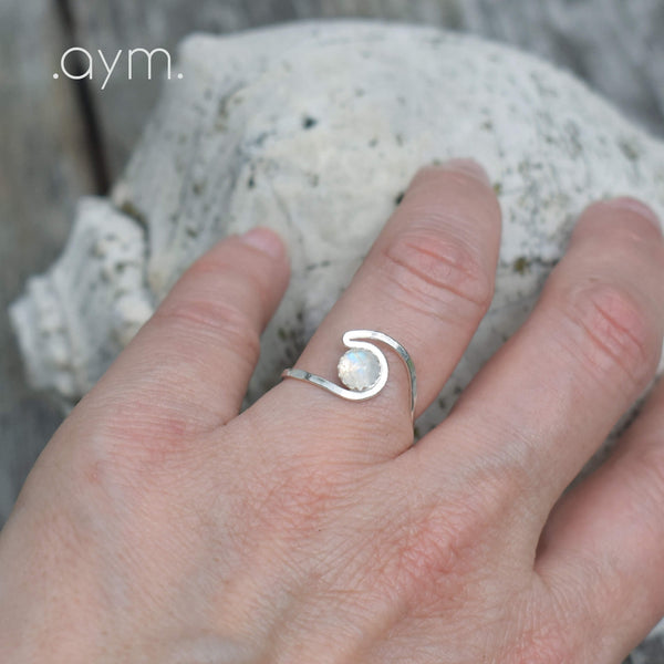 Moonstone Sterling Silver Wave Ring - aymcollections