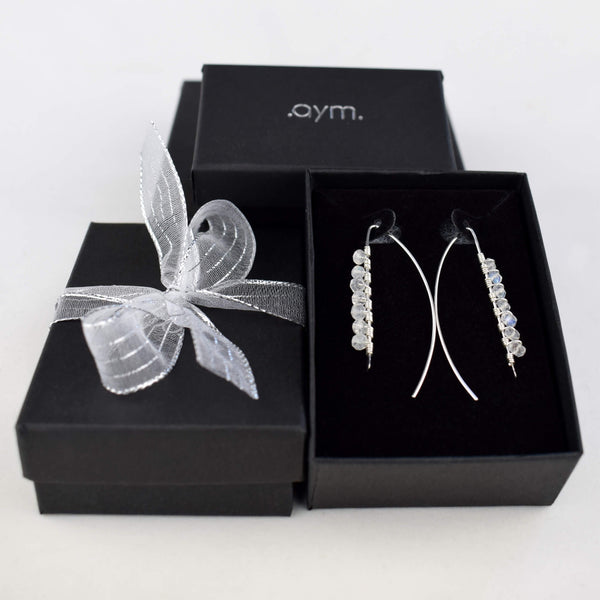 Moonstone Wire Wrapped Threader Earrings in Gift Box - aymcollections