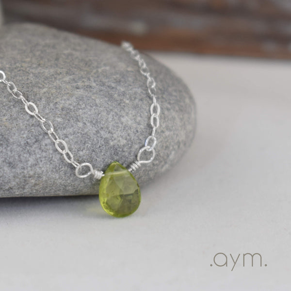 Peridot Briolette Necklace - aymcollections