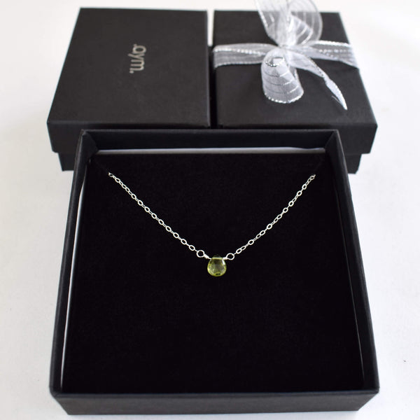 Peridot Briolette Necklace in Gift Box - aymcollections