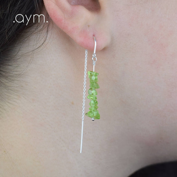 Peridot Crystal Chain Threader Earrings - aymcollections