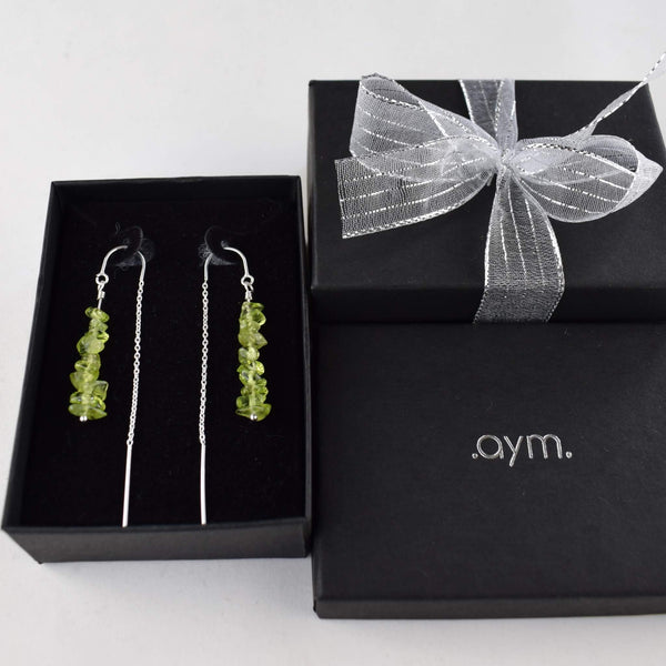Peridot Crystal Chain Threader Earrings in Gift Box - aymcollections