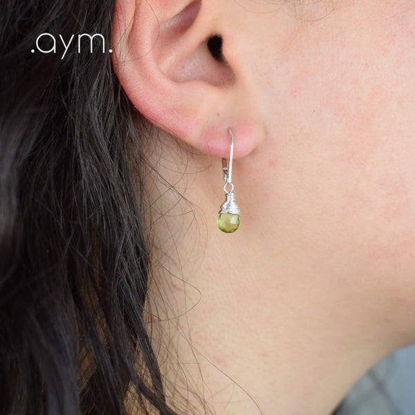 Peridot Leverback Earrings - aymcollections