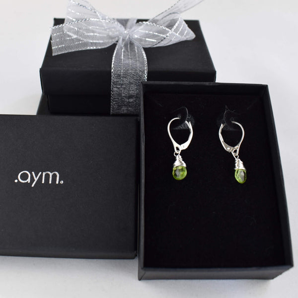Peridot Leverback Earrings in Gift Box - aymcollections