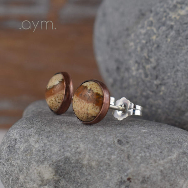 Picture Jasper Stud Earrings - aymcollections