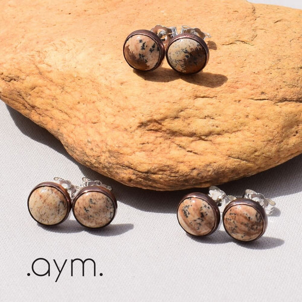 Picture Jasper Stud Earrings Variations - aymcollections