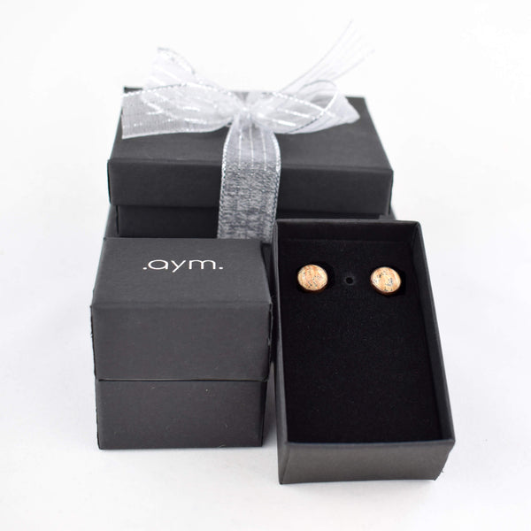 Picture Jasper Stud Earrings in Gift Box - aymcollections