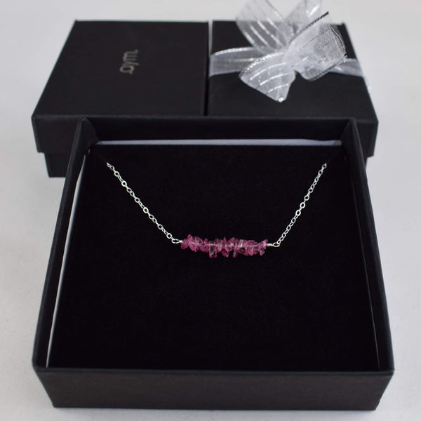 Pink Tourmaline Crystal Bar Necklace in Gift Box - aymcollections