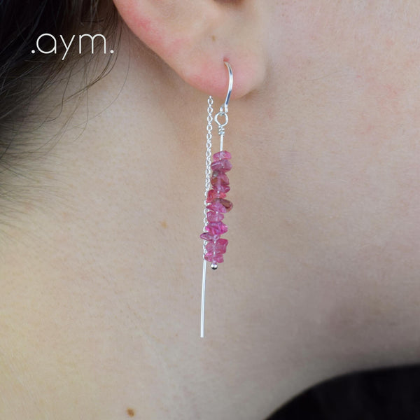 Pink Tourmaline Crystal Chain Threader Earrings - aymcollections