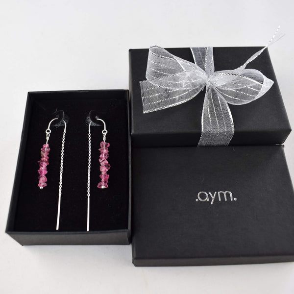 Pink Tourmaline Crystal Chain Threader Earrings in Gift Box - aymcollections