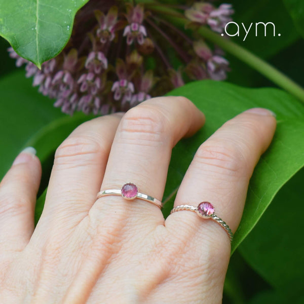 Pink Tourmaline Sterling Silver Ring - aymcollections