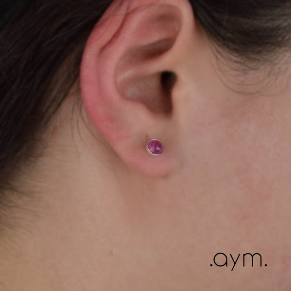 Pink Tourmaline Stud Earrings - aymcollections