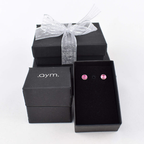 Pink Tourmaline Stud Earrings in Gift Box - aymcollections