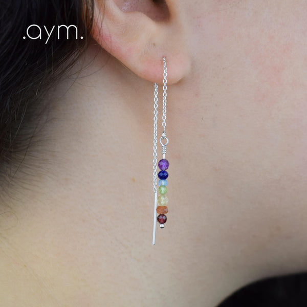 Rainbow Gemstone Chain Threader Earrings - aymcollections