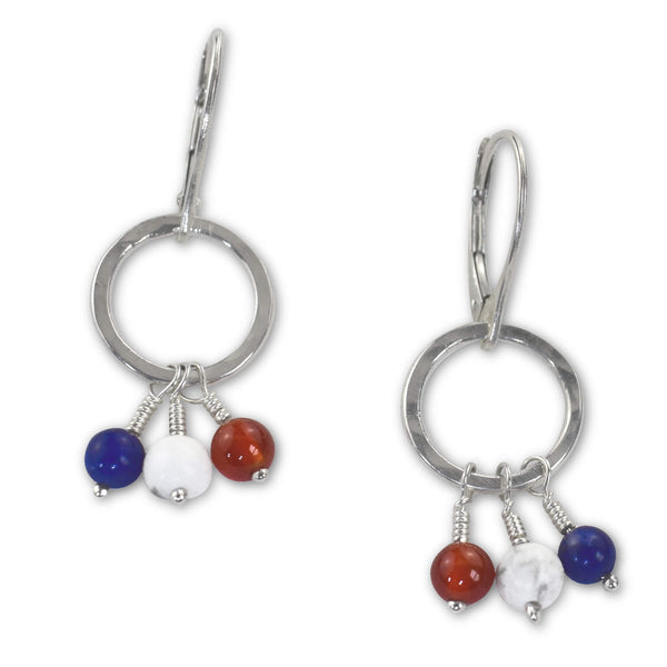 Red White and Blue Leverback Earrings - aymcollections