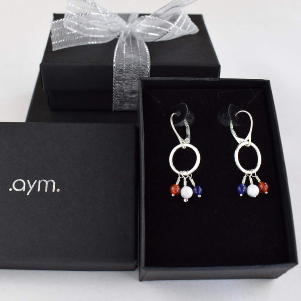 Red White and Blue Leverback Earrings in Gift Box - aymcollections