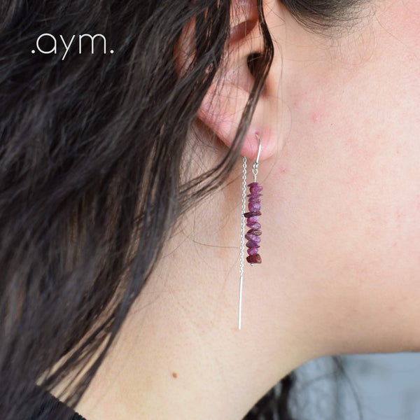 Ruby Crystal Chain Threader Earrings - aymcollections