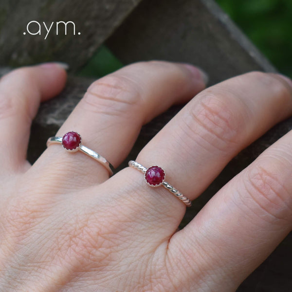 Ruby Sterling Silver Ring - aymcollections
