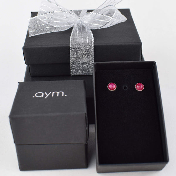 Ruby Stud Earrings in Gift Box - aymcollections